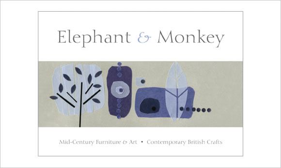 elephant and monkey postcard